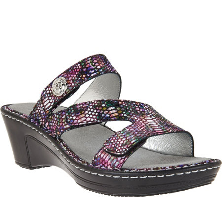 """As Is"" Alegria Leather Triple Strap Wedge Sandals - Loti"