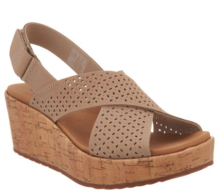Clarks Perforated Nubuck Cork Wedge Sandals - Stasha Bridget