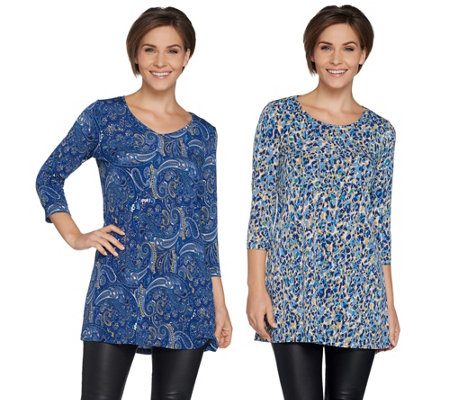 """As Is"" Susan Graver Set of 2 Printed Liquid Knit Tunics"