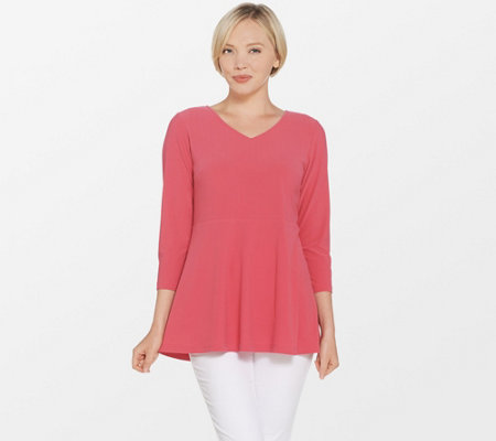 Linea by Louis Dell'Olio Moss Crepe Top with Peplum Detail