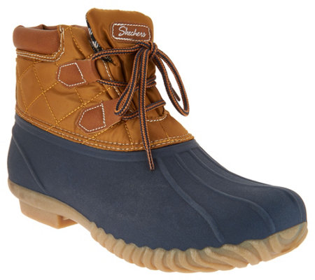 """As Is"" Skechers Short Lace-up Duck Boots- Duck Ridge"