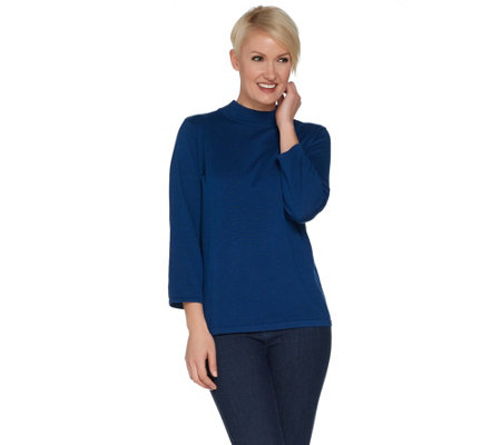 """As Is"" Joan Rivers Wardrobe Builders Mock Turtleneck w/ 3/4 Sleeves"