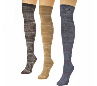 MUK LUKS Women's 3-Pair Over-the-Knee Microfibe r Socks - A337691