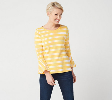"""As Is"" Isaac Mizrahi Live! Scoop Neck Striped Top w/ Bell Sleeves"