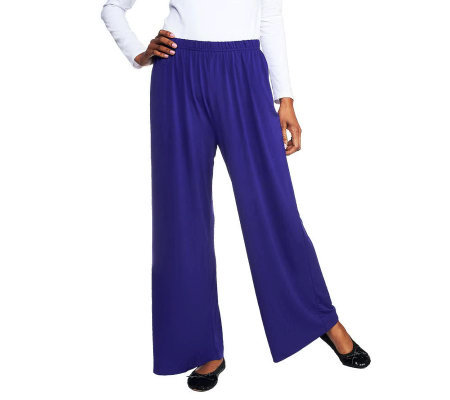 Bob Mackie's Wide Leg Knit Pants Regular or Petite — QVC.com