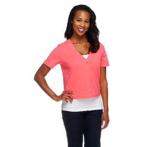Denim & Co. Essentials Short Sleeve One Button Knit Shrug - A213792
