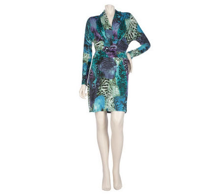 M by Marc Bouwer Printed V-Neck Dress with Ruching
