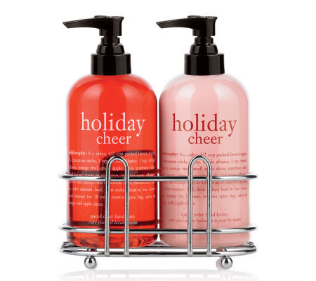 Philosophy holiday cheer hand wash hand lotion duo with Hand wash and lotion caddy