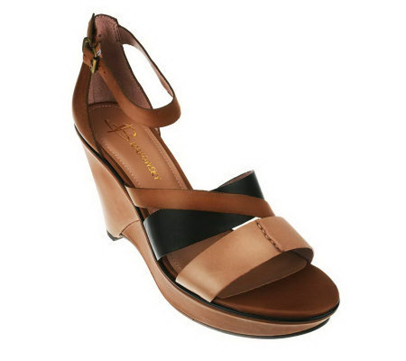 B. Makowsky Camila Leather Sandals w/ Adj. Ankle Strap