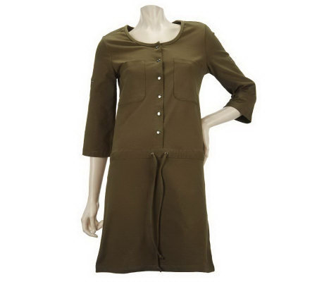 Women with Control Roll Tab Tunic w/Drawstring & Snap Detail