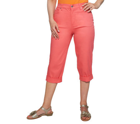 Denim & Co. Classic Waist 5-Pocket Roll Cuff Capri Pants