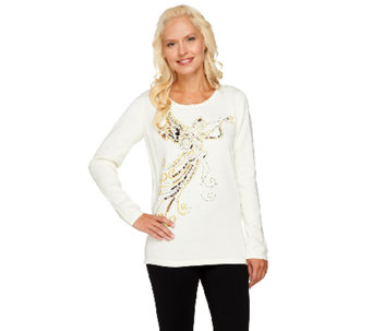 Quacker Factory Good News Angel Long Sleeve Sweater - A229292