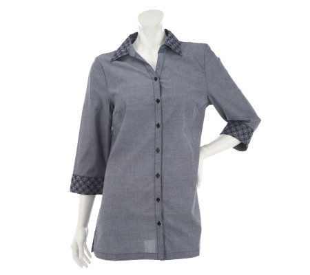 Liz Claiborne New York Button Front Chambray Tunic with Embroidery