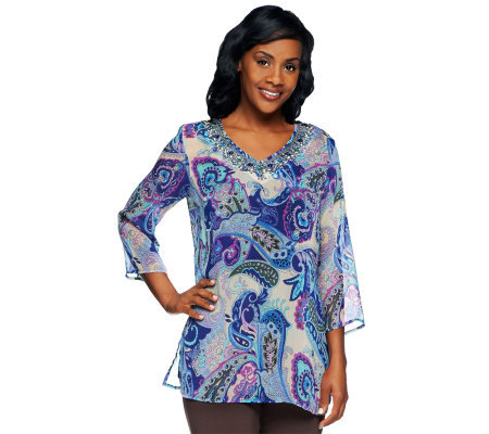 Susan Graver Printed Chiffon Beaded V-Neck 3/4 Sleeve Tunic