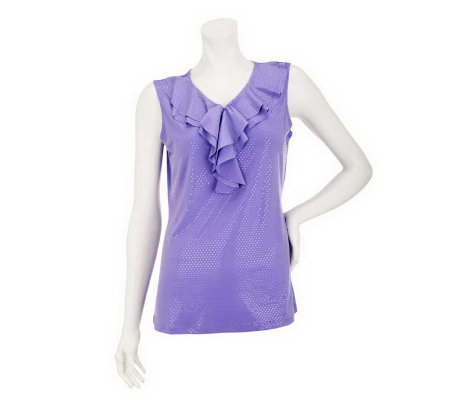 """As Is"" Susan Graver Liquid Knit Tank with Sparkles  and Ruffle Neckline"
