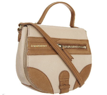 B. Makowsky Waverly Woven Embossed Leather Crossbody