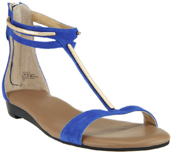 G.I.L.I. Leather T-strap Sandals w/ Hardware Detail - Kerri - A254592