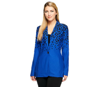 """As Is"" Susan Graver French Terry Printed Jacket with Shawl Collar - A256092"