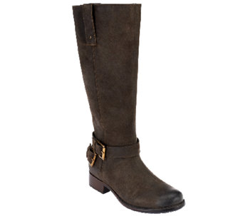 Clarks Leather Tall Shaft Boots w/ Buckle Detail - Plaza Steer - A257392
