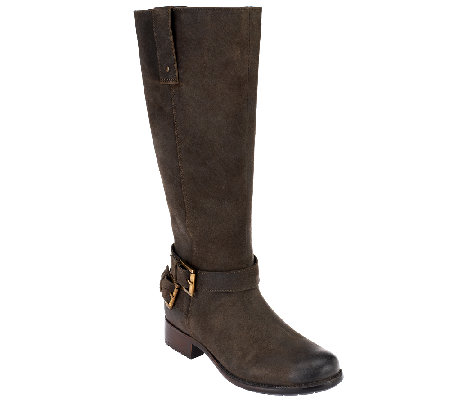 Clarks Leather Tall Shaft Boots w/ Buckle Detail - Plaza Steer