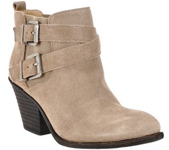 Sole Society Leather Ankle Boots with Buckle Detail - Maris - A259492