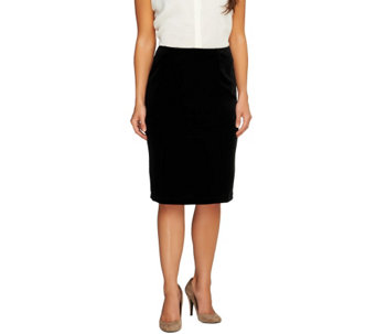 Susan Graver Stretch Velvet Pull-On Slim Skirt w/Elastic Waist - A259592