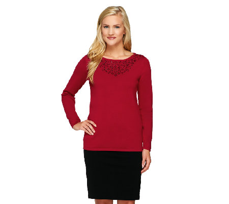 Susan Graver Bateau Neck Long Sleeve Embellished Sweater