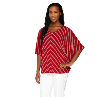 """As Is"" Susan Graver Striped Liquid Knit V- Neck Scarf Top"