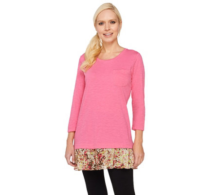 LOGO by Lori Goldstein Knit Top with Printed Pleated Trim