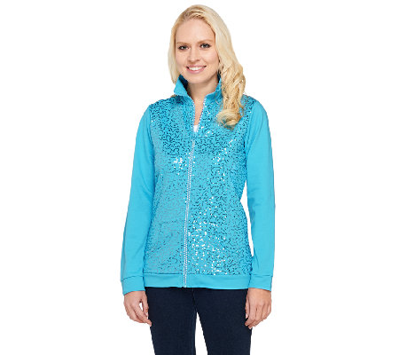 Quacker Factory Sequin Front Rhinestone Zip French Terry Jacket