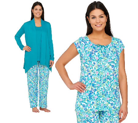 Carole Hochman Ultra Jersey Petite Spring Bloom 4 PC Pajama Set