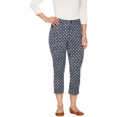 Denim & Co. Printed Twin-Stretch Crop Pants
