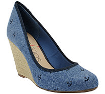 1bc306a23d85 Isaac Mizrahi Live! Textured Suede Open Toe Wedges - Page 1 — QVC.com