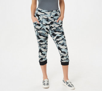 LOGO Lounge by Lori Goldstein French Terry Camo Printed Capri Pants - A264592