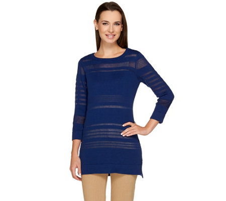 Isaac Mizrahi Live! Illusion Stripe Sweater Tunic