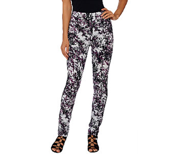 LOGO by Lori Goldstein Printed Knit Pants with Tuxedo Seam - A265592