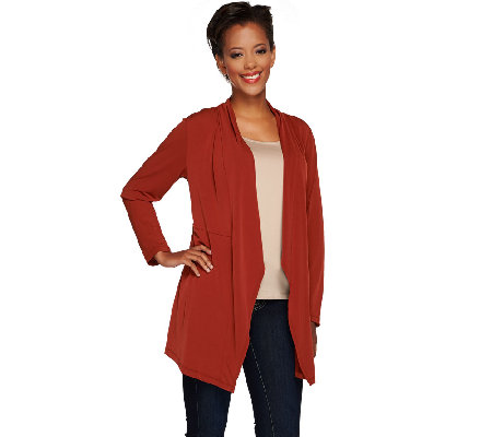 Susan Graver Liquid Knit Long Sleeve Cascade Front Cardigan
