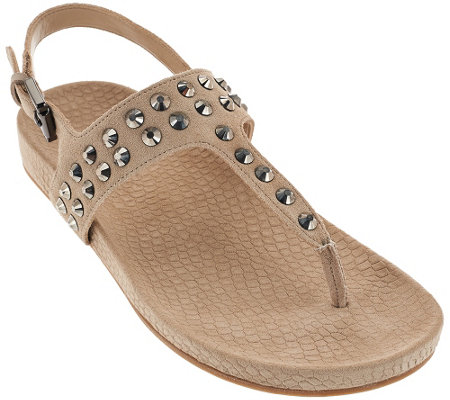 Marc Fisher Suede T-strap Sandals w/ Stud Detail - Sagria