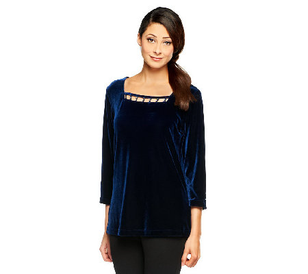 """As Is"" Quacker Rhinestone Embellished Stretch Velvet Top"