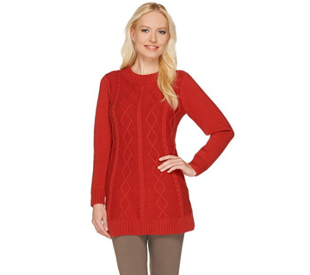 Susan Graver Long Sleeve Jewel Neck Cable Knit Sweater