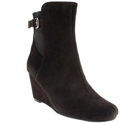 """As Is"" Isaac Mizrahi Live! Suede Wedge Ankle Boots"
