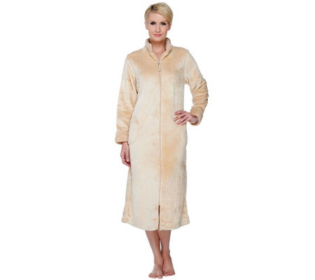 Stan Herman Petite Silky Plush Long Zip Robe