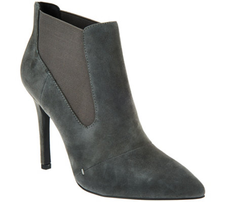 H by Halston Suede Pointed-toe High Heel Ankle Boots - Regina
