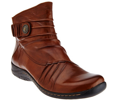 Earth Leather Ankle Boots with Ruching Detail - Thyme