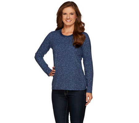 Denim & Co. Herringbone Printed Round Neck Top w/ Velour Trim