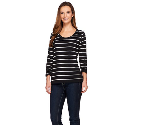 Susan Graver Weekend Yarn Dyed Stripe Stretch Cotton Modal Top