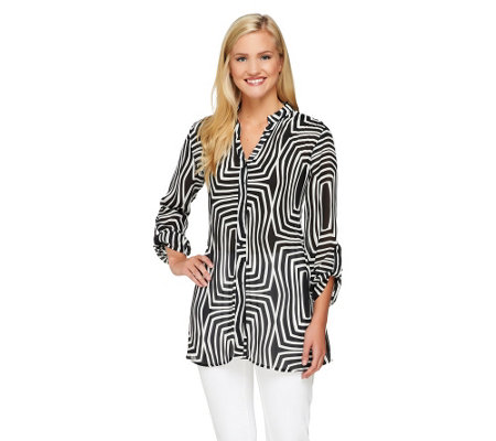 """As Is"" Sunny Leigh Release Pleat Printed Tunic w/ Roll Tab Sleeves"