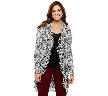 Bethany Mota Open Front Cocoon Cardigan with Fringe Detail