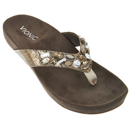Vionic Orthotic Embellished Thong Sandals - Verity