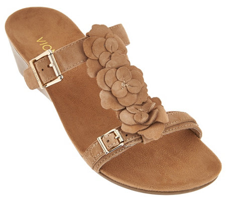 Vionic Orthotic Suede Wedge Sandals - Clay